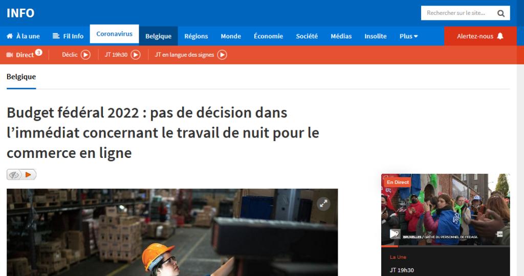 Capture d'écran de l'article RTBF